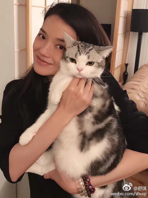舒淇和爱猫比傲娇 素颜嘟嘴少女感满满